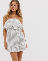 Influence strapless dress with frill detail in stripe