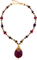 Jose & Maria Barrera Long Beaded Pendant Necklace, Purple