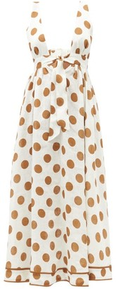 Zimmermann Empire Polka-dot Linen Dress - White Print