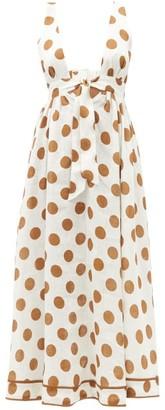 Zimmermann - Empire Polka-dot Linen Dress - White Print