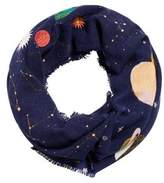 MANGO Planet embroidery scarf