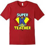 River Island Funny Kindergarten Teacher Quote Gift Super K Symbol T-Shirt