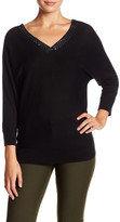 Magaschoni Sequined V-Neck Silk & Cashmere Blend Sweater