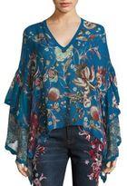 Roberto Cavalli Silk Floral Ruffle Blouse
