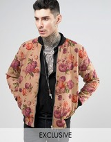 Reclaimed Vintage Reclaimed Melton Bomber Jacket In Floral Print