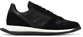 Rick Owens Runner Leather-trimmed Suede And Shell Sneakers