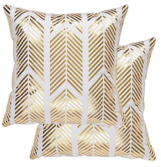 Unique Bargains Set of 2 Decorative Pillow Cover Bronzing Gold Print Throw Pillow Case
