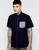 Fred Perry Shirt With Stripe Pocket and Back Short Sleeves In Slim Fit