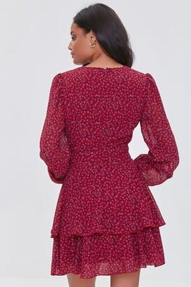 Forever 21 Ditsy Floral Print Chiffon Mini Dress