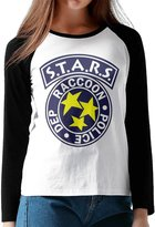 WSWDSH Women's Residentevil Resident Evil S.T.A.R.S Logo Long Sleeve Raglan T-Shirt