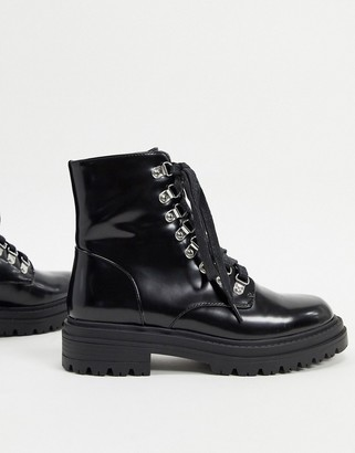 Raid Sofia flat boots with eyelet detail in black