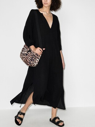 HONORINE Black Bianca V-Neck Cotton Midi Dress