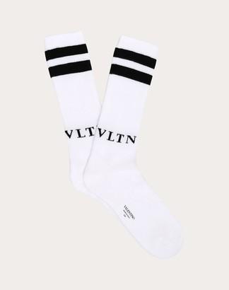 Valentino Vltn Socks Man White/ Black Cotton 88%, Elastane 4% L/XL