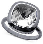 T Tahari Silver-Tone Crystal Ring