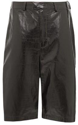 Dodo Bar Or Hasan Crocodile-effect Leather Culottes - Dark Brown