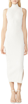 Herve Leger Rib Knit Sleeveless Midi Turtleneck Dress