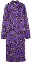 Marni Printed Satin-jacquard Midi Dress - Purple