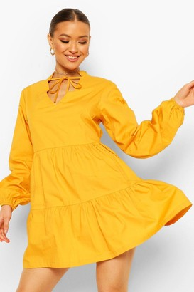 boohoo Cotton Tie Neck Tiered Smock Dress