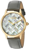 Akribos XXIV Women's Gold-Tone Mother-of-Pearl Mosaic Dial with Grey Glove Style Genuine Leather Strap Watch AK906GY