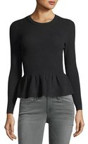 BA&SH Kenn Crewneck Ribbed Peplum Sweater
