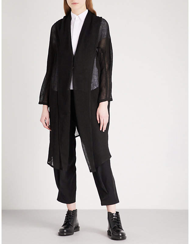 Y's Ys Asymmetric-lapel linen-blend jacket