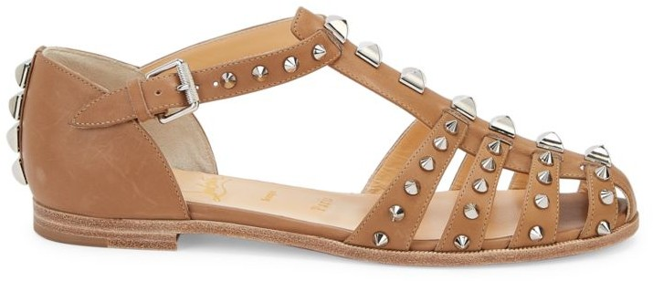 Christian Louboutin Loubiclou Spiked Leather T-Strap Flats