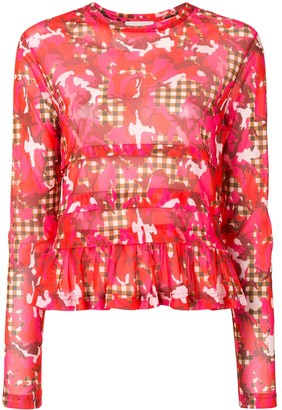 Molly Goddard Floral Check Print Peplum Top