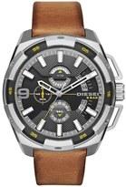 Diesel 'Heavyweight' Leather Strap Watch, 50mm