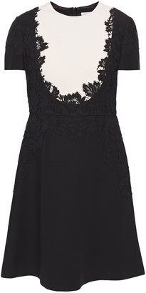 Valentino Lace-appliqued Two-tone Cotton-blend Cady Mini Dress