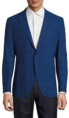 Saks Fifth Avenue Made In Italy Modern-Fit Wool Linen Plaid Jacket