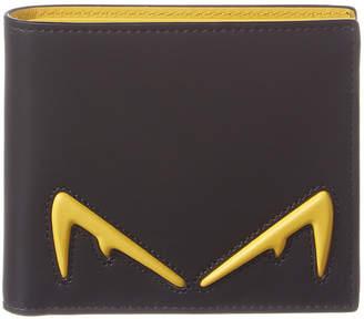 Fendi Diabolic Eyes Motif Leather Bifold Wallet
