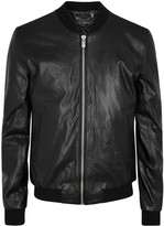 Blk Dnm Black Leather Bomber Jacket