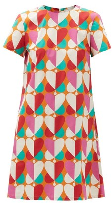 La DoubleJ Mini Swing Farfalle-print Cotton-poplin Dress - Pink Print