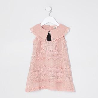 River Island Mini Girls Pink Sleeveless Lace Swing Dress