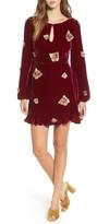 For Love & Lemons Women's Papillon Applique Velvet Swing Dress