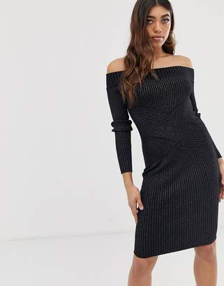 Lipsy glitter bardot midi dress-Black