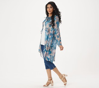 Logo by Lori Goldstein Printed Woven Duster with Tie Front