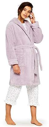 Iris & Lilly Women's Dressing Gown in Short Cozy Fleece with Long Sleeves and Relaxed Fit,X-Large