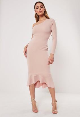 Missguided Blush Bodycon One Shoulder Fishtail Midi Dress
