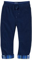 Joules Navy Cord Pull-Up Trousers with Check Turn-Ups