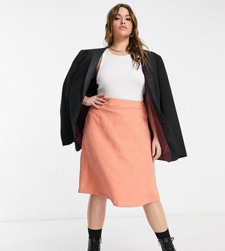ELVI Plus jaquard mini skirt in peach