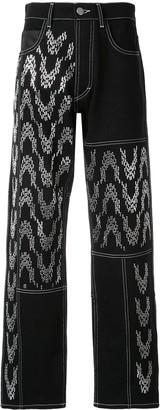 Koché Embellished Wide Leg Jeans