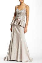Sue Wong Embroidered Peplum Satin Dress in Taupe W5234