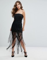 Misha Collection Structured Bandeau Mini Dress With Fringe Overlay