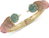 Betsey Johnson Gold-Tone Multi-Crystal Bird Hinged Bangle Bracelet