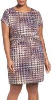Ellen Tracy Plus Size Women's Tweed Print Sheath Dress