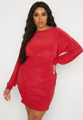 Missguided Plus Size Red Slinky Crew Neck Ruched Mini Dress