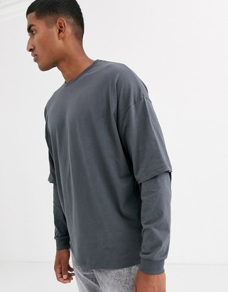 Asos DESIGN oversized longline long sleeve t-shirt with double layer sleeve in washed black