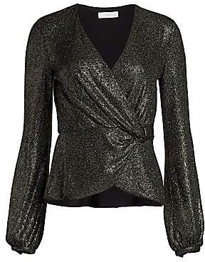 Scripted Women's Glitter Metallic Crossover Top