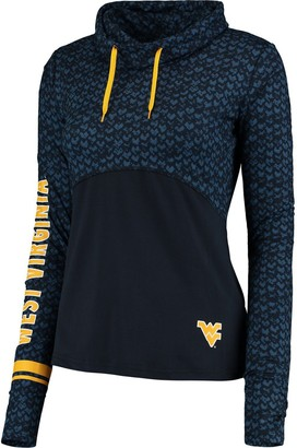 Colosseum Women's Navy West Virginia Mountaineers Scaled Cowl Neck Pullover Hoodie